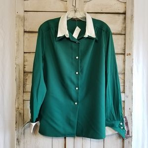 Vintage 80s Hunter Green Blouse 18 New Old Stock